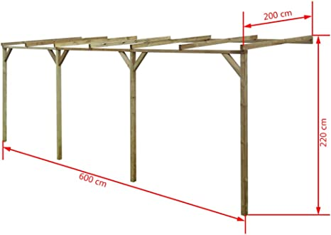 vidaXL Pérgola para Jardín con Techo Inclinado Madera de Pino 2x6x2, 2m Techado: Amazon.es: Hogar