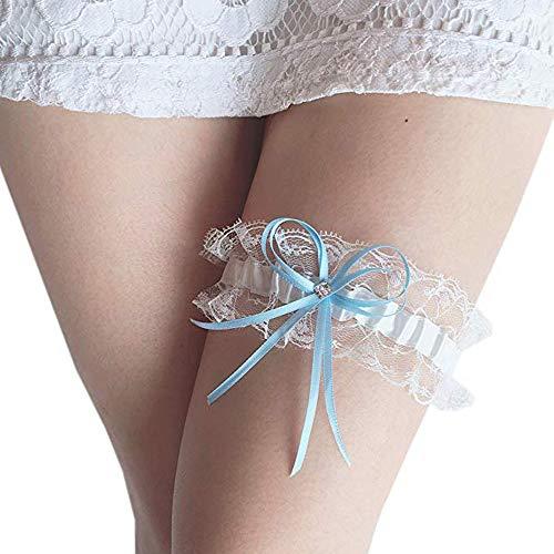 Wedding Bridal Garter Lace Garter Satin Bow for Brides Garter Throw Bridal Rhinestones White-Blue ()