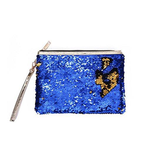 1pcs Wdoit Paillettes Trousse Donna Light 24 Cerniera 17 Blue 5cm Portamonete Da Busta Pochette Mano Borsa dTqrTF