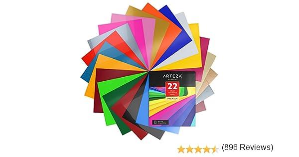 Arteza Papel de vinilo textil imprimible | Hojas de vinilo de papel transfer para camisetas y tejidos varios (25,4 x 30,5cm) | 22 colores surtidos: Amazon.es: Hogar