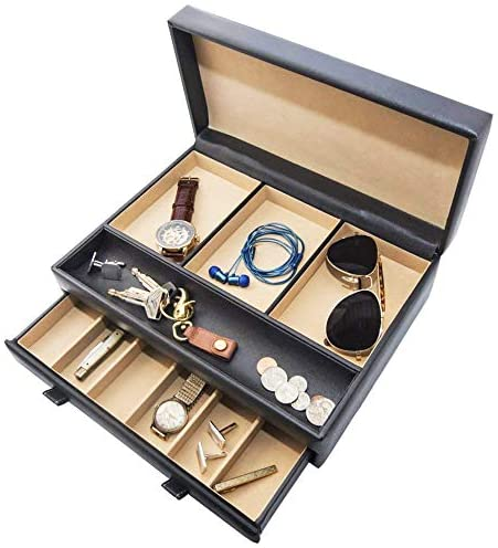Stock Your Home Watch Box with Valet Drawer for Dresser – Mens Jewelry Box with Multiple Compartments – Jewelry Case Display Organizer for Mens Jewelry Watches, Men's Storage Boxes Holder