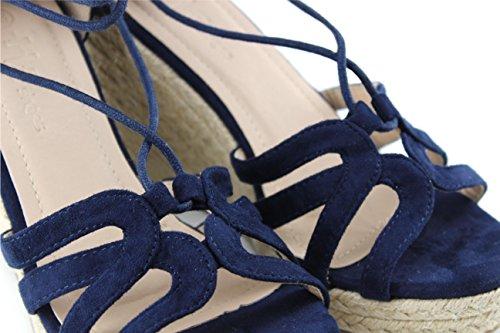 Modelisa - Sandalia Cuña Atada Alpargata Mujer Azul marino