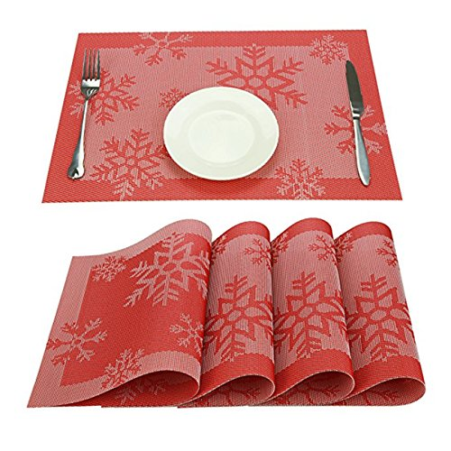 Durable PVC Non-Slip Heat-resistant Waterproof Reusable Placemats For Great Dinning Experience Stain-resistant Reindeer and Snowflake Design Table Mats For Christmas Set of 6 (Red Snowflake 6 Pcs)