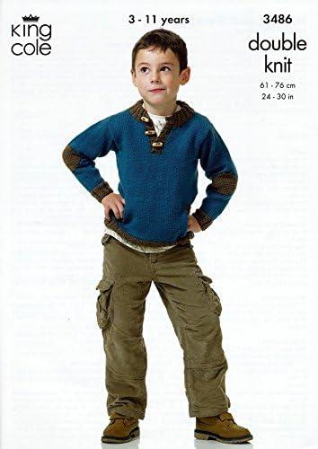 "24-30/"" King Cole Knitting Pattern: Boys Hoodie /& Sweater DK 3486"