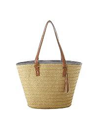 Women New Straw Handmade Large-Capacity Zip Closure Top-Handle Shoulder Bags Beach Tote, Brown