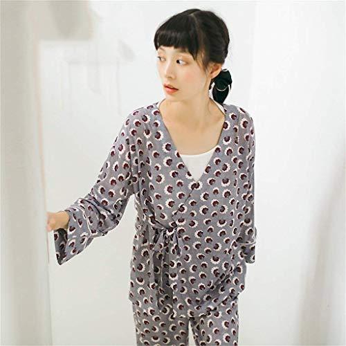Mujer Chic Para Conjunto Hogar Manga Albornoz Grau Pijamas Solo Especial Pecho Estilo cuello V El Ropa Pijama Otoño Dos Un Moda Camisones Largo Elegantes Primavera Piezas Pantalones De Camisas 7q7CXxwE
