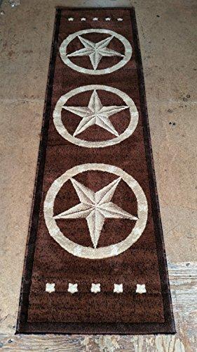 Texas Lone Star Runner Area Rug Dark Brown Beige Black Design 5457 (2 Feet X 7 Feet 3 Inch ) by Americana