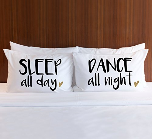 Susie85Electra Couple Pillowcases Romantic,Valentines Day Pillowcase, for Bedroom or Dorm Gift for Her Bed Pillows Sleep All Day Dance All Night Pillow Case Set Bedroom Home Decor by Susie85Electra (Image #1)