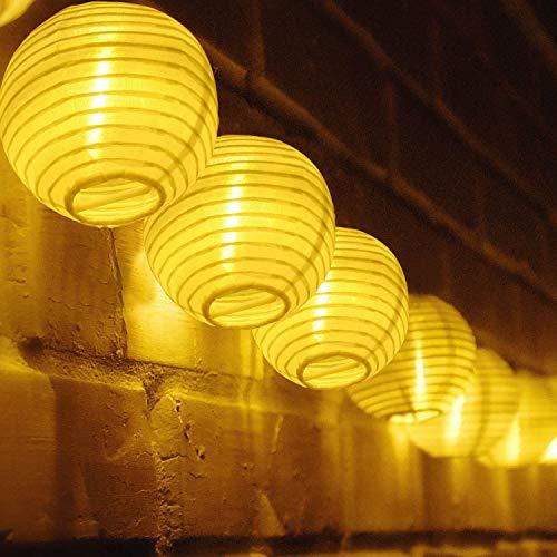 TR Turn Raise 4.8 Metros 20 LED Guirnaldas de Luces Farolillos Solares Exterior Impermeable para Decoracion Jardines Casas Bodas (Blanco calido)