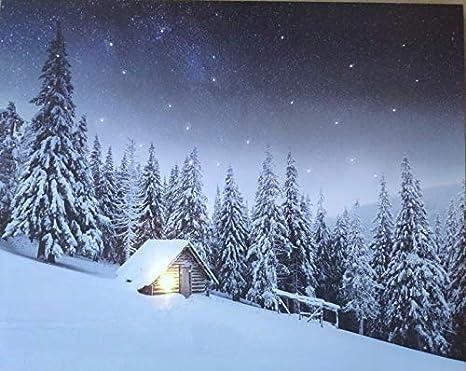 JANDEI - Cuadro Paisaje LED Con Interruptor (Montaña, 50 * 40 * 1,8) Casa En La Nieve Con Cielo Estrellado Con Iluminación De 1 LED Y 53 Puntos De Fribra Óptica, 2 Pilas AA