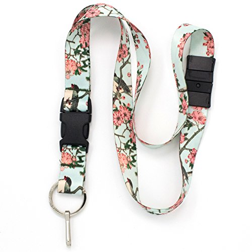 (Buttonsmith Hiroshige Cherry Blossoms Breakaway Lanyard - with Buckle and Flat Ring - Made in The USA)