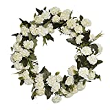 FAVOWREATH 2018 Vitality Series FAVO-W117 Handmade 14 inch White Carnation,Wild Grass,Leaf Grapevine Wreath for Front Door/Wall/Fireplace Hanger Nearly Natural Everyday Home Decor