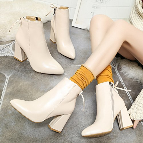 KHSKX-A Rough Heels Woman Martin Boots Short Tube Shoes Boots All-Match Korean Version Of Spring And Autumn And Winter Bare Boots Rice white Imxlcbf0i