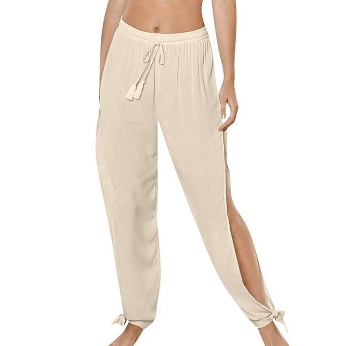 RISTHY Pantalones Profesionales de Yoga con Aberturas Laterales Sueltos Cintura Alta Mujer Pantalones de Lino Largos Deportivos Suaves y Cómodos para ...