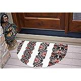 "3D Semicircle Floor Stickers Personalized Floor Wall Sticker Decals,Borders with Abstract Tribal Animal Figures,Kitchen Bathroom Tile Sticker Living Room Bedroom Kids Room Decor Art Mural D23.6"""