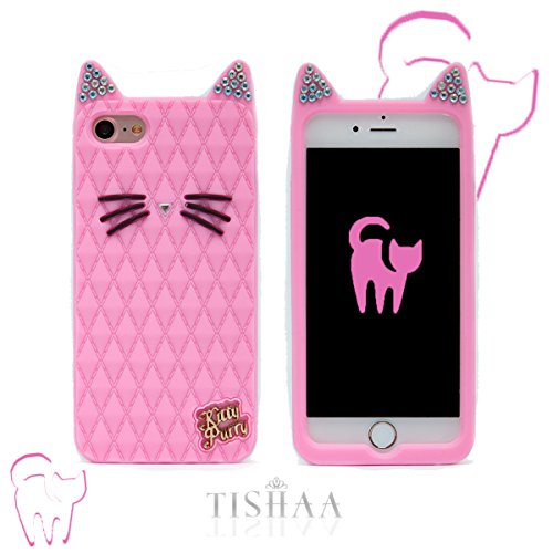 Iphone 7 Case  Tishaa Cute 3D Cartoon Animal Anime Animation Character Protective Silicone Rubber Bumper Cellphone Case For Apple Iphone 7  2016   Baby Pink