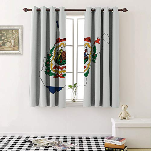 (Room Darkening Blackout Curtains West Virginia Mountain State Map Flag Farming and Mining Mountaineers are Always Free Multicolor/Drapes/Panels for Dining Room 84 by 72)