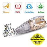 Car Vacuum Cleaner, TWOBIU 4-in-1 Handheld Wet-Dry Auto Vacuum Cleaner with Tire Inflator, Tire Pressure Gauge 150 PSI and LED Light 12V 100W (Golden)