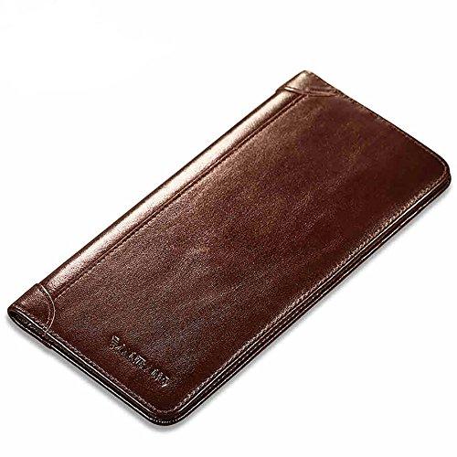 Genuine Italian Leather Handbag Organizer Card Case Long Bifold Wallet - Leather Genuine Italian Wallet