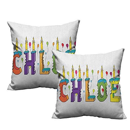 RuppertTextile Fashion Pillowcase Chloe Lettering with Cheerful Bitten Cake Candles Girly Birthday Party Design First Name Machine Washable W20 xL20 2 pcs ()