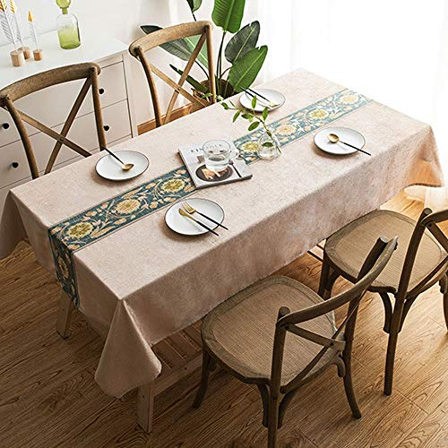 D 110x170cm Nappe jacquard décorative housse de table en lin, lavable ne se déCouleure pas ne rétrécit pas, haute qualité, parfaite pour la décoration de buffets de table de cuisine