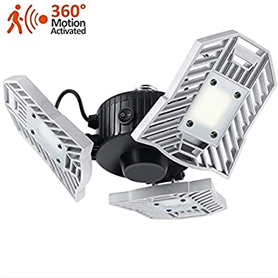 LED Garage Lighting, 6000 lm Security Ceiling Light with Built-in Motion Detector, 6000K Daylight