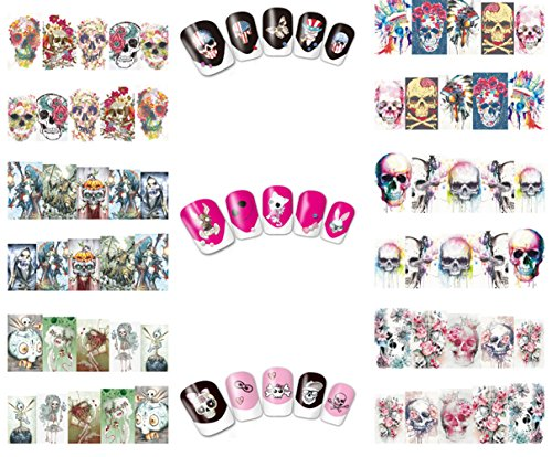 Frifer 10 Sheets Halloween Nail Stickers Horror Skull Head Water Transfer Nail Decals Decoration Manicure Tips -