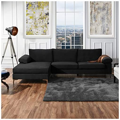 Living Room Casa AndreaMilano Modern Large Velvet Fabric Sectional Sofa, L-Shape Couch with Extra Wide Chaise Lounge, Midnight modern sofas and couches