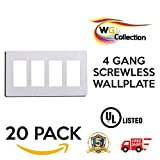 WG Collection 4 - Gang Decorator Screwless Wall Plate Perfect for Any Outlet or Receptacle 20 Pack