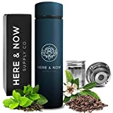 Multi-Purpose Travel Mug and Tumbler | Tea Infuser Water Bottle | Fruit Infused Flask | Hot & Cold Double Wall Stainless Steel Coffee Thermos | by Here & Now Supply Co. (Midnight Teal)