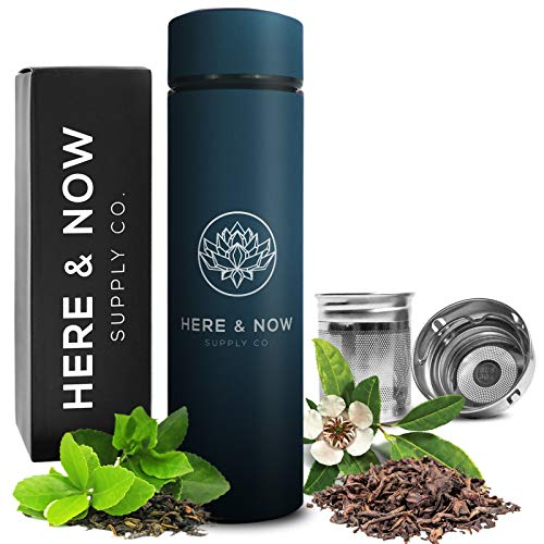 (Multi-Purpose Travel Mug and Tumbler | Tea Infuser Water Bottle | Fruit Infused Flask | Hot & Cold Double Wall Stainless Steel Coffee Thermos | by Here & Now Supply Co. (Midnight Teal))