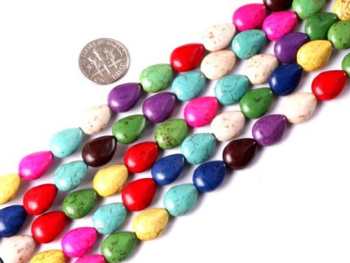 - 10x13mm drip gemstone mixed-color howlite dyed beads strand 15