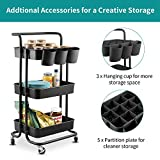 alvorog 3-Tier Rolling Utility Cart Storage Shelves