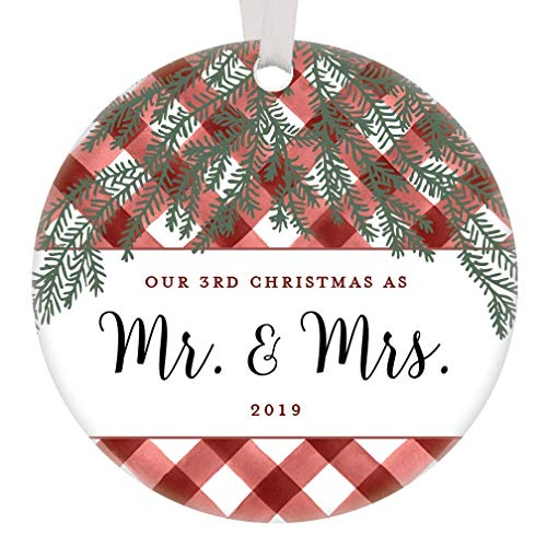 Our Third Christmas 2019 Ornament Anniversary Tradition Perfect Couple Present Mr & Mrs Wife Husband Pine Tree Red White Buffalo Plaid Farmhouse Wedding Country Decoration 3