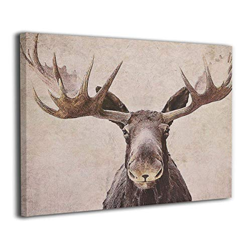 Kingsleyton Moose Antler Animal Wildlife Wall Art Painting The Picture Print On Canvas Pictures for Home Decor Decoration Stretched by Wooden Frame Ready to Hang (Moose Antler Animal Wildlife, 24x36) (Wooden Moose)