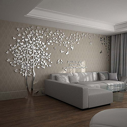N.SunForest 3D Crystal Acrylic Couple Tree Wall Stickers Silver Self-Adhesive DIY Wall Murals Home Decor Art - X-Large by N.SunForest (Image #2)