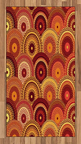 ea Rug, Henna Mandala Round Figures Tribal Moroccan Ornamental Design Cultural Symbolic, Flat Woven Accent Rug for Living Room Bedroom Dining Room, 2.6 x 5 FT, Multicolor ()