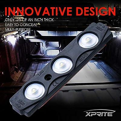 Xprite White Truck Pickup Bed Light Kit, 24 Led Cargo Rock Lighting Kits w/Switch for Van Off-Road Under Car, Side Marker, Foot Wells, Rail Lights - 8 PCS: Automotive
