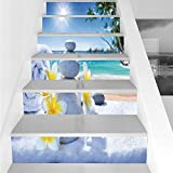 Stair Stickers Wall Stickers,6 PCS Self-Adhesive,Spa Decor,Spa Treatment on Tropical Beach Sunshines Palm Trees Bungalows Wooden Deck,Stair Riser Decal for Living Room, Hall, Kids Room Decor