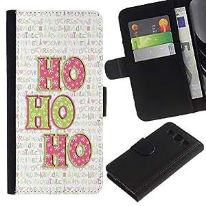 Paccase / Billetera de Cuero Caso del tirón Titular de la tarjeta Carcasa Funda para - Christmas Xmas Holiday Winter Text - Samsung Galaxy S3 III I9300