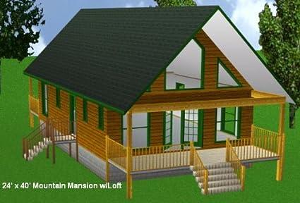 24x40 Cabin W/loft Plans Package, Blueprints, Material List