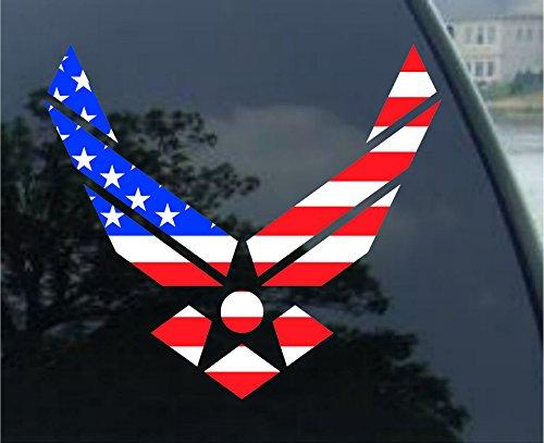 Crawford Graphix Air Force Wings USA Flag - Car, Truck, Notebook, Bumper, Window Vinyl Sticker 5.5