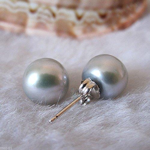 (Genuine Natural 9-10mm Gray Akoya Freshwater Pearl Sterling Silver Stud Earrings)
