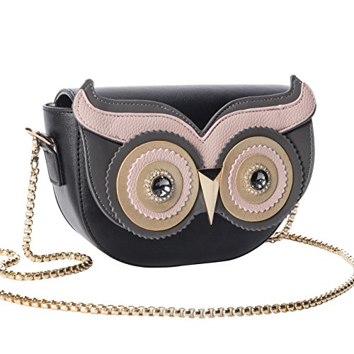 125b7a7fbe8c QZUnique Women s PU Gold Metal Strap Owl Satchel Cross Body Shoulder Bag  Tote Handbag Cute Purse