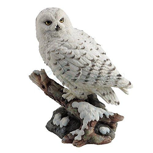 Snow Owl Perching on Branch Figurine (White Statue Snow)