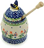 Polish Pottery Honey Jar with Dipper 5-inch Spring Flowers