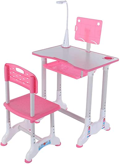 UPDD Kids Desk Table and Chair Set Height Adjustable Children Study Desk Table Chair Drawing Set Bookstand Writing Tables Bookstand and Storage Drawer Kids Functional Desk Pink1