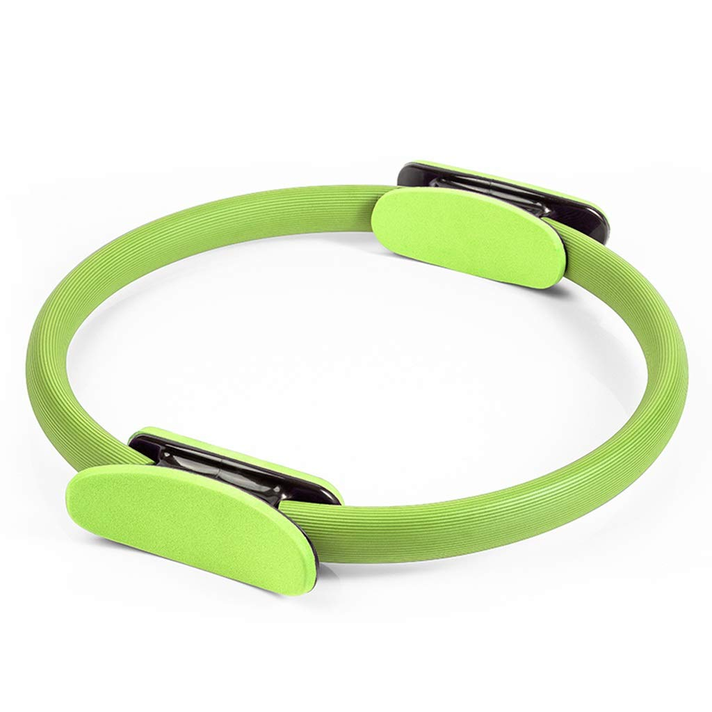 Core Balance Pilates Resistance Ring, Dual Grip Magic Exercise Circle, Double Handle Thigh Arm Toner Physical Therapy Tool 38.5cm (Color : Green)