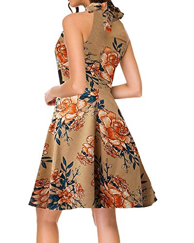 TOP-MAX Women's Skater Dresses Elegant Sleeveless Off Shoulder Wedding Guest Casual Floral A-Line Party Cocktail Swing Dress Yellow (Off The Shoulder A Line Wedding Dress)
