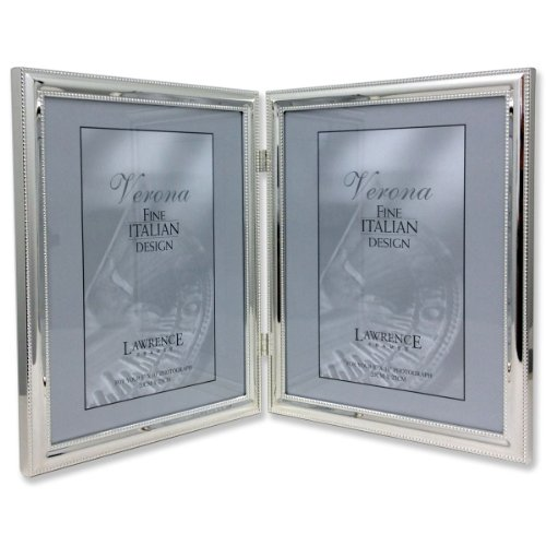 Lawrence Frames 510780D Silver Plated Double Bead Hinged Double Picture Frame, 8 by 10-Inch